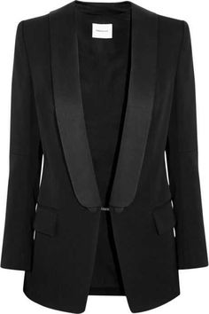 Finished with silk lapels, Pierre Balmain's black blazer has a tuxedo-inspired feel. This tailored wool piece is fully lined and has padded shoulders for a sharp silhouette. NET-A-PORTER.Black wool Button fastening at front wool; Pierre Balmain, Balmain Pants, Look Office, Love Fashion, Fashion Outfits, Black Tuxedo, Tuxedo Suit, Tailored Jacket, Blazer Outfits