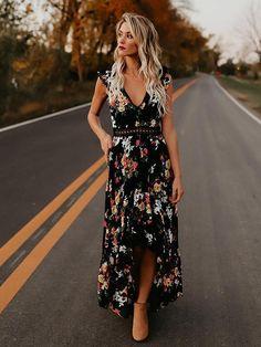 Bohemia Asymmetry Floral V Neck Backless Maxi Dress Backless Maxi Dresses 864a90d5f