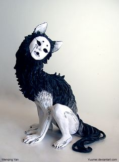 """Qing"" by yuumei Score: ARTINFO: Yoshitomo Nara this surreal ceramic sculpture is not. The monstrous humanoid wolf has a face like a Noh mask and Chinese characters spotting its white skin. The black surfaces are painted with sumi ink, another t Art Sinistre, Yuumei Art, Character Inspiration, Character Art, Arte Obscura, Art Sculpture, Ceramic Sculptures, Arte Horror, Creepy Art"