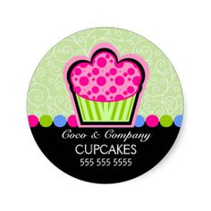 Cute Cupcake Bakery Stickers
