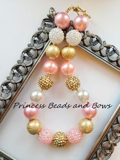 Shades of Pink Gold and White Chunky by PrincessBeadsandBows