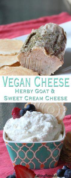 how to make vegan cheeses: Goat Cheese & Sweet Cream Cheese (so easy, just 3 ingredients!) #vegan #cheese #dairyfree