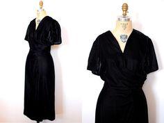 40s cocktail dress / 1940s black silk velvet draped by 13bees