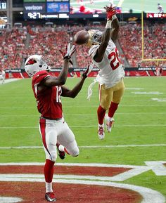 50 Best Shots from the First Month of the NFL Season - Arizona Cardinals wide receiver John Brown can't make the catch as San Francisco cornerback Kenneth Acker defends. Nfl Arizona Cardinals, Nfl Season, One Month, Wide Receiver, Pro Cycling, World Of Sports, Sports Photos, Photos Of The Week, Football