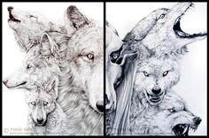 Wolf Diptych by Junryou-na-Kokoro on deviantART