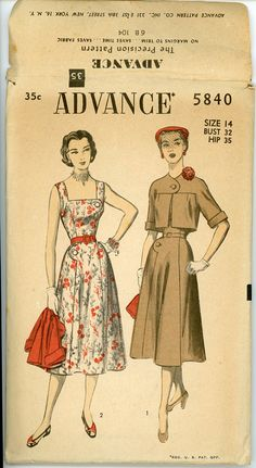 Love the asymetrical button tretment on the dress, and the jacket is just adorable. 1950s Sundress & Cropped Jacket Pattern Advance by CynicalGirl