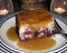 This recipe comes from a cookbook titled The First Batch of Treasured Recipes from Home by Kyla Pierik and was purchased at Apple Berry Farm Market in my hometown. The blueberry cake is warmed and then you pour the heated sauce over top. Some may find it a tad bit sweet, but in our household it was a definite winner.