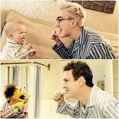 How to teach your son to brush his teeth…recreate The Muppets.