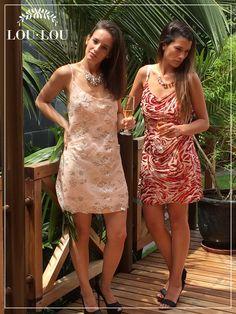 Sofi: vestido Nimes en encaje y gasa / Mechi: vestido Cannes en tul bordado