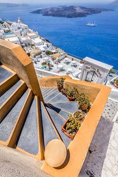 Steps in Fira, Santorini, Greece