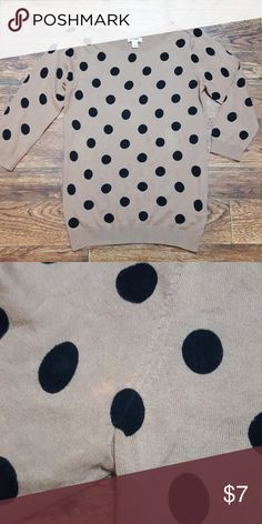 Polka Dot Sweater Camel colored boatneck sweater with black polka dots. Small bleach stain at arm, as shown in 2nd pic, barley noticeable. Old Navy Sweaters
