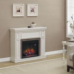 Granville 43 In. Convertible Electric Fireplace In Antique White With Faux Stone…