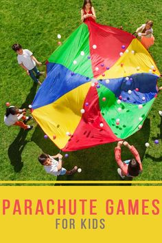 Parachute Games are a GREAT group kids game to play, and there's so many games to choose from! Great options for games for kids while at the beach or for a birthday party game.