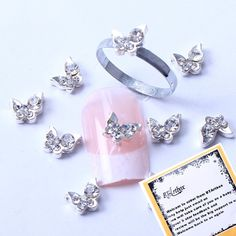 BTArtbox 3d Nail art Slivery Butterfly Shaped Rhinestone Nail Decorations Glitter Beads DIY Decorations 10 pcs  Unique Ring * Find out more about the great product at the image link.