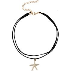 Starfish Pendant Double Layer Choker ($3.99) ❤ liked on Polyvore featuring jewelry, necklaces, black, leather jewelry, leather pendant, star fish necklace, layered necklace and multi layer necklace