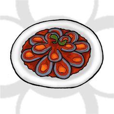 mejillones con tomate [ES] #mejillones con #salsa de #tomate [EN] #mussels with #tomato #sauce.