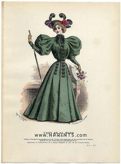 L'Art et la Mode 1895 N°08 Marie de Solar, colored fashion lithograph — original…