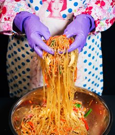 Jap Chae- From Lucky Peach's first cookbook 101 Easy Asian Recipes Korean Dishes, Korean Food, Easy Asian Recipes, Ethnic Recipes, Korean Recipes, Crack Pie, Lucky Peach, Sweet Potato Noodles, International Recipes