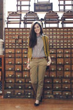 Salvatore Ferragamo Pumps - Vara Low Heel (similar).  Striped Blouse: Vintage…