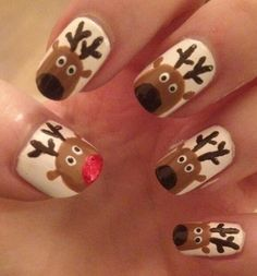 Easy nail art: reindeer! use either a striper or just a nikko pen for antlers