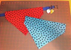 Easy to sew 2-sided dog bandana . Free tutorial with pictures on how to make a bandana in under 120 minutes by sewing, applying makeup, and dressmaking with fabric, plastic canvas, and scissors. Inspired by for pets, costumes & cosplay, and clothes & accessories. How To posted by Joybells. Difficulty: Simple. Cost: 3/5. Steps: 22