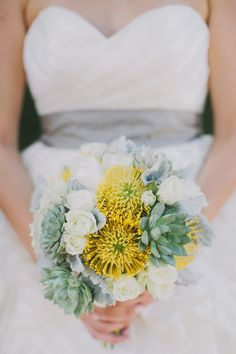 succulent floral bouquet, photo by Fondly Forever http://ruffledblog.com/palm-springs-wedding-with-succulents #weddingbouquet #bouquets