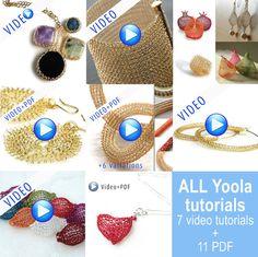 Jumbo Yoola Crochet joyería tutoriales, patrones de tutoriales en vídeo en línea PDF instrucciones paso a paso joyas