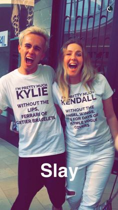 """I'm pretty much Kylie without the lips, Ferrari or Cartier bracelets,"" reads one, while the other says, ""I'm pretty much Kendall without the angel wings, legs for days or multiple ​Vogue​ covers.""  The shirts (which aren't from Topshop) don't appear to be available online, which makes us think the fans had them custom-made... or even made them themselves!  We want them SO BADLY, but just one little problem stands in the way: which Jenner sister's t-shirt do we want more?!"