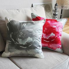 Red flower decoration pillow for couch Chinoiserie ink painting sofa cushions
