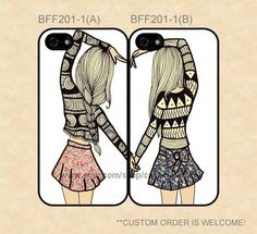 BFF201-1 Best Friend Double Cases, iPhone 4/4s/5/5s/5C, Samsung Galaxy S2/S3/S4/S5/Note 2/3, Htc One S/X/M7 on Etsy, $27.99