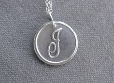 Fine+Silver+Pendant+/Cursive+Initial+Charm+by+BitsofSilver+on+Etsy,+$27.00
