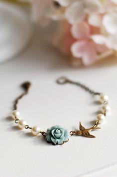 Brass Swallow Bird Dusky Blue Rose Flower Swarovski Ivory Cream Pearls Bracelet. Wedding Bridal Bracelet, Flower Girl, Bridesmaid Bracelet by LeChaim www.etsy.com/shop/LeChaim
