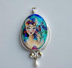 Cloisonné Enamel Necklace by TatiaEnamel on Etsy