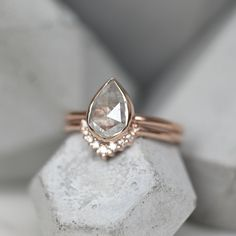 1.32 Carat Light Grey Pear Diamond Engagement Ring, 14k Rose Gold Pear Shaped Diamond, Rough Diamond, Grey Diamond Engagement Ring, Engagement Rings, Beautiful Rings, Heart Ring, Wedding Rings, Rose Gold, Jewelry