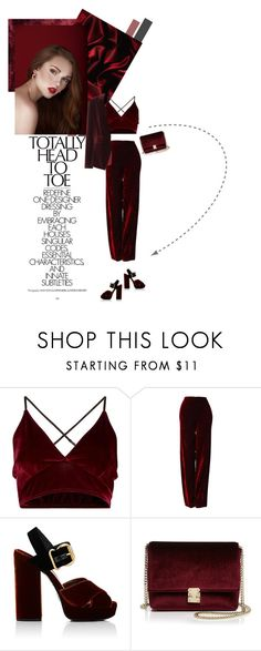 """One Color. Head to Toe."" by shyyypieee ❤ liked on Polyvore featuring Versace, Altuzarra, Prada, KC Jagger, velvet, headtotoe and velveteverything"