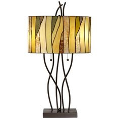 """Pacific Coast Lighting PCL Twigs Stained 31"""" H Table Lamp with Drum Shade"""