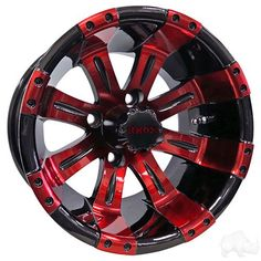 Set of 4 Vegas Black with Red Aluminum Golf Cart Wheels Great quality meets great value in this Aluminum Wheel. Center caps included with aluminum wheels. Lug nuts not included Golf Cart Wheels, Golf Cart Tires, Car Wheels, Custom Chevy Trucks, Custom Jeep, Ford Trucks, Rims For Cars, Rims For Trucks, Yamaha Golf Carts