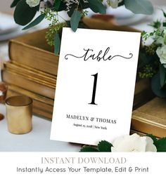 Hey, I found this really awesome Etsy listing at https://www.etsy.com/listing/522121660/table-number-card-printable-wedding