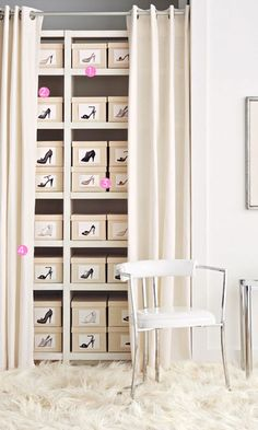 shoe closet - photographs of shoe box contents to ID. Drape and rod within a room might be an option, if not sufficient closet space. Closet Bedroom, Closet Space, Shoe Closet, Shoe Wardrobe, Master Bedroom, Wardrobe Ideas, Bedroom Decor, Shoe Organizer, Closet Organization