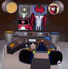 "Transformers Animated Perceptor, Alpha Trion, Cliffjumper, Jazz and Sentinel Prime (from ""Decepticon Air"")"