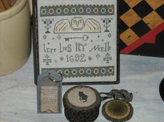 Tombstone Angel Sewing Box with Penny Scissor Fob, Black Cat Button Box, Wood Floss Tag, Primitive Cross Stitch,