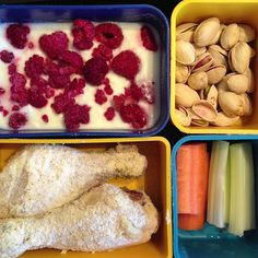 #getREAL lunch photo: baked chicken, plain full-fat yogurt w/ raspberries, pistachios, celery and carrots