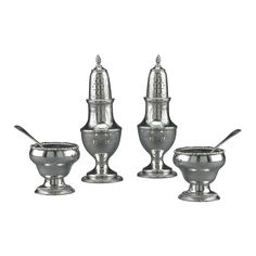 Early American Silver Salt and Pepper Service | From a unique collection of antique and modern sterling silver at https://www.1stdibs.com/furniture/dining-entertaining/sterling-silver/