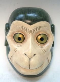 Japanese Monkey Noh Theatre Mask Saru Showa Period, Register to bid!  http://www.liveauctioneers.com/item/19180162