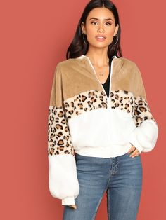 Zip Front Colorblock Leopard Sleeve Teddy Jacket Stand Collar Casual Bomber Jackets 2018 Winter Women Coats And Tops Multi XS Winter Coats Women, Coats For Women, Girls Coats, Fashion News, Girl Fashion, Young Models, Sleeve Styles, Outfits, Clothes
