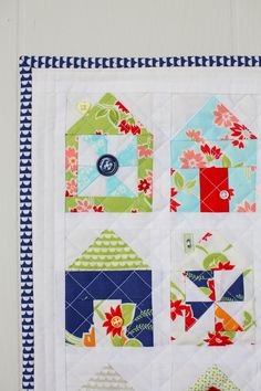 Mini House Quilt, miss kate fabric, moda fabrics, thimbleblossoms mini quilt, pinwheel houses quilt, quilts with buttons