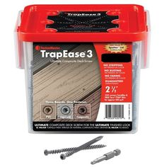 """OMG Fastenmaster Trapease 3 Ultimate Composite Deck Screws - 2-1/2"""" The FastenMaster TrapEase 3 is the only deck fastener guaranteed to create a clean finished look without pre-drilling in all three types of synthetic decking: composite, PVC, and capstock.   Available in various finishes: Beach Dune, Clamshell, Fire Pit, Gravel Path, Lava Rock, Madeira, Pebble, Rope Swing, Saddle, Spiced Rum, Tiki Torch, Tree House, Winchester Gray, Woodland Brown, Vintage Lantern.  Anti-fade head paint, the…"""