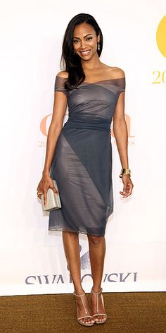 Zoe Saldana stunning in a stone colored dress