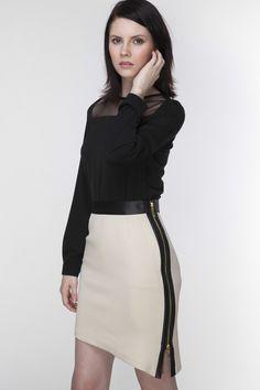 AMBIGANTE beżowa spódnica z dwustronnym suwakiem - AMBIGANTE - Spódnice midi