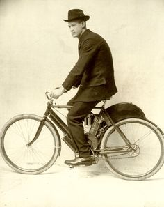Oscar Hedstrom on his first Indian Motocycle -Courtesy of Indian Motorcycle collection.